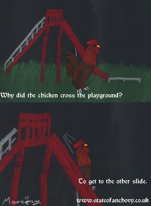 Why did the chicken cross the playground